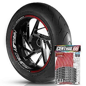 Adesivo Friso de Roda M1 +  Palavra V-ROD + Interno G Harley Davidson - Filete Vermelho Refletivo