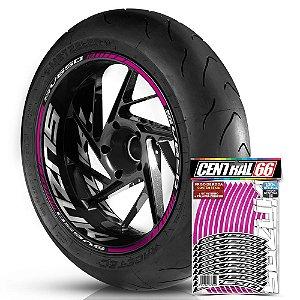 Adesivo Friso de Roda M1 +  Palavra SV650 + Interno G Suzuki - Filete Rosa