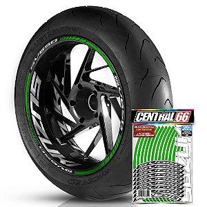 Adesivo Friso de Roda M1 +  Palavra SV650 + Interno G Suzuki - Filete Verde Refletivo