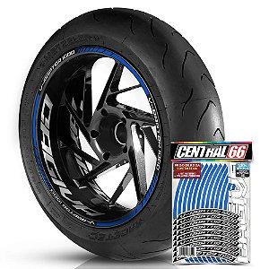 Adesivo Friso de Roda M1 +  Palavra V-RAPTOR 1000 + Interno G Cagiva - Filete Azul Refletivo