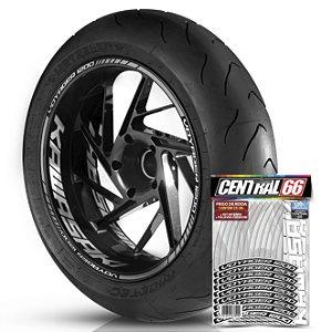 Adesivo Friso de Roda M1 +  Palavra VOYAGER 1200 + Interno G Kawasaki - Filete Prata Refletivo
