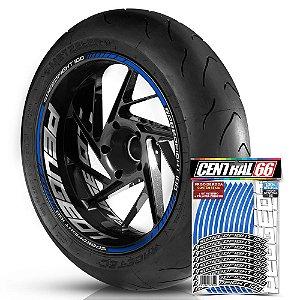 Adesivo Friso de Roda M1 +  Palavra SPEEDFIGHT 100 + Interno G Peugeot - Filete Azul Refletivo