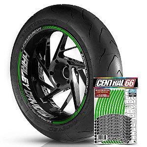Adesivo Friso de Roda M1 +  Palavra ELECTRA GLIDE CLASSIC FLHTC + Interno G Harley Davidson - Filete Verde Refletivo
