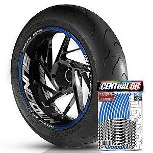 Adesivo Friso de Roda M1 +  Palavra MAX 125 + Interno G Sundown - Filete Azul Refletivo