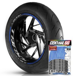 Adesivo Friso de Roda M1 +  Palavra Traxx JL 125 9 SKY + Interno G TRAXX - Filete Azul Refletivo