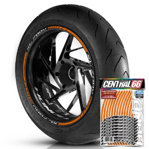 Adesivo Friso de Roda M1 +  Palavra XL 700V + Interno P Honda - Filete Laranja Refletivo