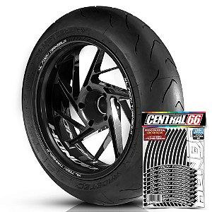 Adesivo Friso de Roda M1 +  Palavra XL 700V TRANSALP + Interno P Honda - Filete Preto