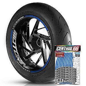 Adesivo Friso de Roda M1 +  Palavra VITESSE + Interno G Motorino - Filete Azul Refletivo