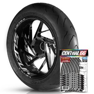 Adesivo Friso de Roda M1 +  Palavra LETS II + Interno G Suzuki - Filete Preto