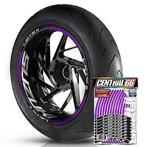 Adesivo Friso de Roda M1 +  Palavra LETS II + Interno G Suzuki - Filete Roxo