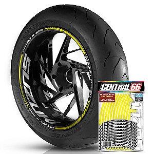 Adesivo Friso de Roda M1 +  Palavra BANDIT N-600 + Interno G Suzuki - Filete Amarelo