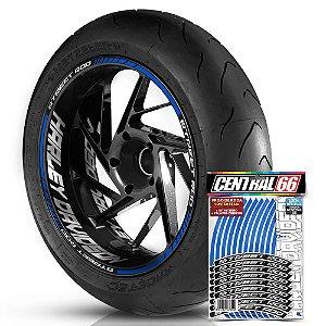 Adesivo Friso de Roda M1 +  Palavra STREET ROD + Interno G Harley Davidson - Filete Azul Refletivo