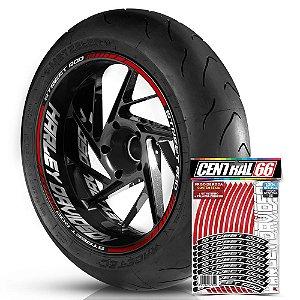 Adesivo Friso de Roda M1 +  Palavra STREET ROD + Interno G Harley Davidson - Filete Vermelho Refletivo
