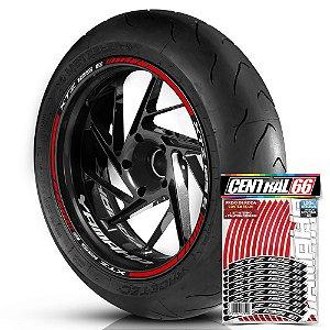 Adesivo Friso de Roda M1 +  Palavra XTZ 125 E + Interno P Yamaha - Filete Vermelho Refletivo