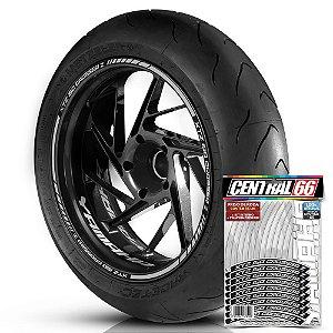 Adesivo Friso de Roda M1 +  Palavra XTZ 150 CROSSER Z + Interno P Yamaha - Filete Prata Refletivo