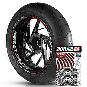 Adesivo Friso de Roda M1 +  Palavra DEUCE + Interno G Harley Davidson - Filete Vinho