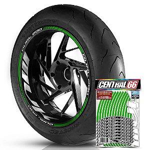 Adesivo Friso de Roda M1 +  Palavra DUAL 200 + Interno G MVK - Filete Verde Refletivo