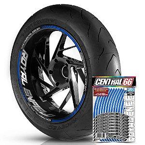 Adesivo Friso de Roda M1 +  Palavra CONTINENTAL 535 EFI + Interno G Royal Enfield - Filete Azul Refletivo