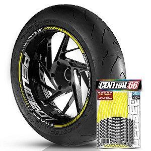 Adesivo Friso de Roda M1 +  Palavra SPEEDAKE 50 + Interno G Peugeot - Filete Amarelo
