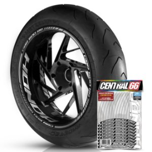 Adesivo Friso de Roda M1 +  Palavra CBR 600 RR + Interno G Honda - Filete Prata Refletivo