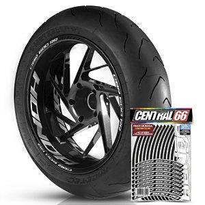 Adesivo Friso de Roda M1 +  Palavra CBR 600 RR + Interno G Honda - Filete Preto