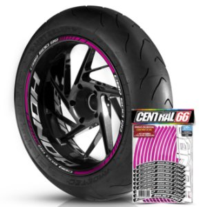 Adesivo Friso de Roda M1 +  Palavra CBR 600 RR + Interno G Honda - Filete Rosa