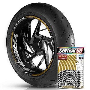 Adesivo Friso de Roda M1 +  Palavra YZ 125 + Interno G Yamaha - Filete Dourado Refletivo
