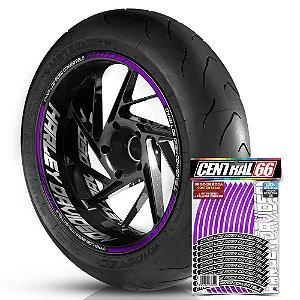 Adesivo Friso de Roda M1 +  Palavra DYNA LOW RIDER CONVERTIBLE + Interno G Harley Davidson - Filete Roxo