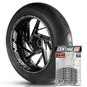 Adesivo Friso de Roda M1 +  Palavra RETRO 50 + Interno G Shineray - Filete Prata Refletivo