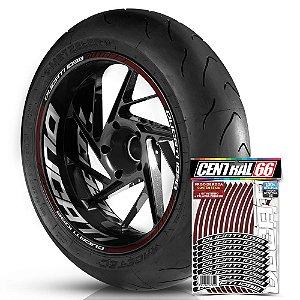 Adesivo Friso de Roda M1 +  Palavra DUCATI 1098 + Interno G Ducati - Filete Vinho