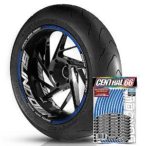 Adesivo Friso de Roda M1 +  Palavra MAX 125 SED + Interno G Sundown - Filete Azul Refletivo