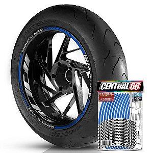 Adesivo Friso de Roda M1 +  Palavra BRAVE 450 + Interno G Iros - Filete Azul Refletivo