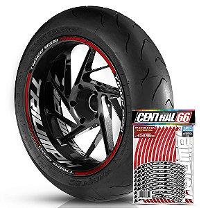 Adesivo Friso de Roda M1 +  Palavra TIGER 955i + Interno G Triumph - Filete Vermelho Refletivo