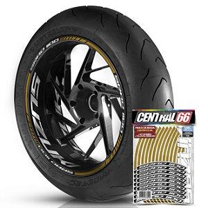 Adesivo Friso de Roda M1 +  Palavra SRAD 1100 + Interno G Suzuki - Filete Dourado Refletivo
