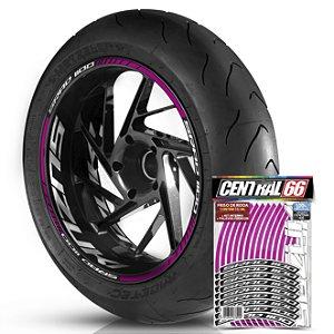 Adesivo Friso de Roda M1 +  Palavra SRAD 1100 + Interno G Suzuki - Filete Rosa