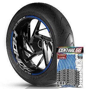 Adesivo Friso de Roda M1 +  Palavra XLX 250 R + Interno G Honda - Filete Azul Refletivo