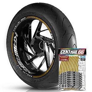 Adesivo Friso de Roda M1 +  Palavra KLX 110 + Interno G Kawasaki - Filete Dourado Refletivo