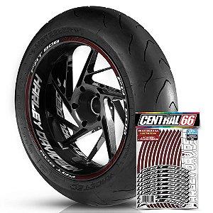 Adesivo Friso de Roda M1 +  Palavra FAT BOB + Interno G Harley Davidson - Filete Vinho