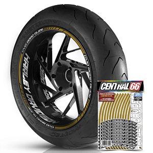Adesivo Friso de Roda M1 +  Palavra CVO ROAD GLIDE + Interno G Harley Davidson - Filete Dourado Refletivo