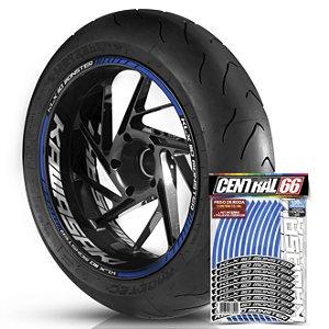 Adesivo Friso de Roda M1 +  Palavra KLX 110 MONSTER + Interno G Kawasaki - Filete Azul Refletivo