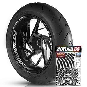 Adesivo Friso de Roda M1 +  Palavra KLX 110 MONSTER + Interno G Kawasaki - Filete Preto