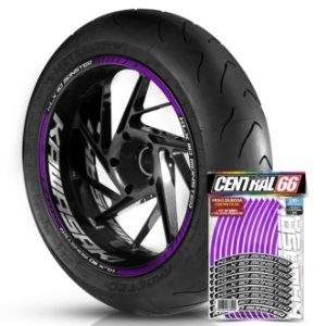 Adesivo Friso de Roda M1 +  Palavra KLX 110 MONSTER + Interno G Kawasaki - Filete Roxo