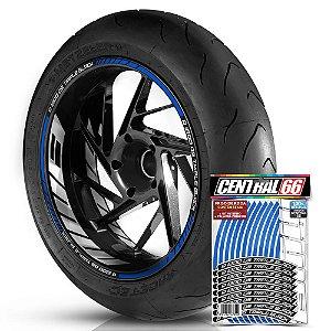 Adesivo Friso de Roda M1 +  Palavra R 1200 GS TRIPLE BLACK + Interno G BMW - Filete Azul Refletivo