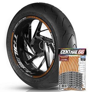 Adesivo Friso de Roda M1 +  Palavra STREET CUP 900 + Interno G Triumph - Filete Laranja Refletivo