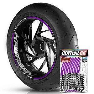 Adesivo Friso de Roda M1 +  Palavra VULCAN EN + Interno G Kawasaki - Filete Roxo