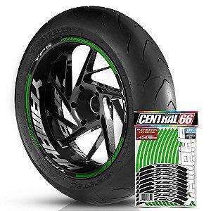 Adesivo Friso de Roda M1 +  Palavra YFS + Interno G Yamaha - Filete Verde Refletivo