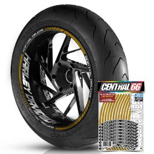 Adesivo Friso de Roda M1 +  Palavra SOFTAIL DELUXE + Interno G Harley Davidson - Filete Dourado Refletivo