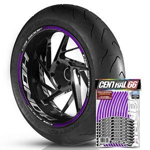 Adesivo Friso de Roda M1 +  Palavra CB 500 F + Interno G Honda - Filete Roxo