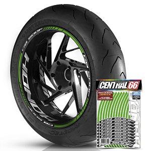 Adesivo Friso de Roda M1 +  Palavra CB 500 F + Interno G Honda - Filete Verde Refletivo