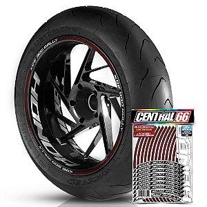 Adesivo Friso de Roda M1 +  Palavra XRE 300 RALLY + Interno G Honda - Filete Vinho